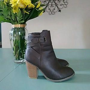 Brown leather zip up booties